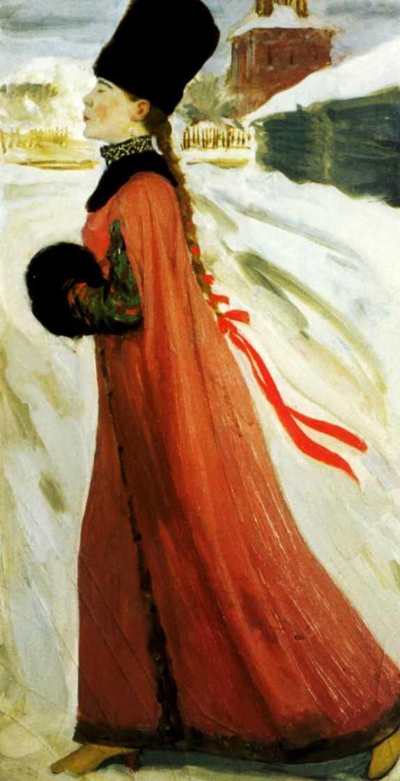 художник: Рябушкин Андрей Петрович. артикул rus - 2665. название картины: Московская девушка XVII века.