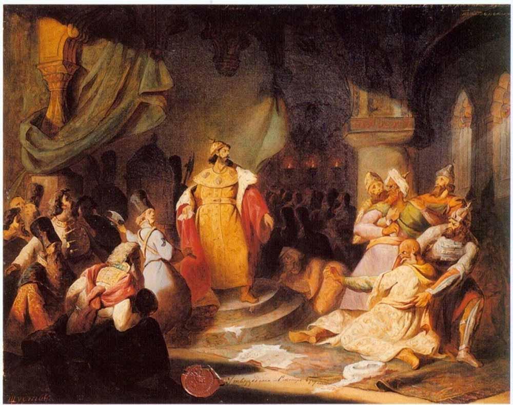 Шустов Николай Семенович. Иоанн III разрывает ханскую грамоту