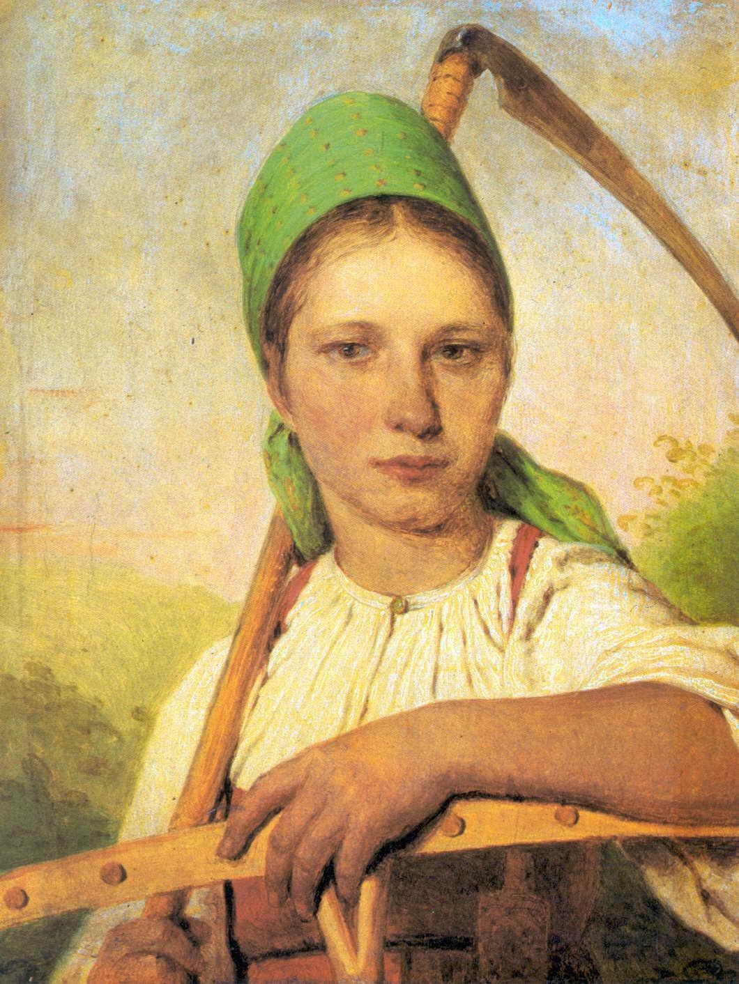 Девушка крестьянка рисунок